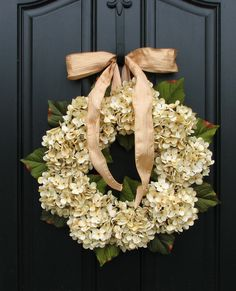 Hydrangea Wreaths, Fall Wedding Decor, Wedding Wreaths, Champagne, Front Door Wreath, Holidays. $90.00, via Etsy.
