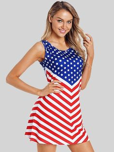 3b14c1143 Dresswel Women Stars and Stripes Mini Dress American Flag Print Tank Dress Independence  Day