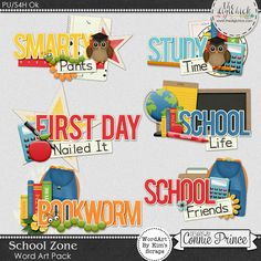 School Zone - WordArt Pack by Kim using School Zone by Connie Prince. Includes 6 cluster wordart images, saved in PNG format. Shadows are included. Scrap for hire / others ok.