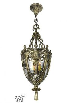 Victorian Neoclical Entry Pendant Fixture With Candle Lights Ant 578 Vintage
