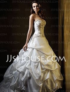 Wedding Dresses - $248.49 - Amazing A-Line/Princess Sweetheart Chapel Train Satin Wedding Dress With Embroidery Ruffle (002001448) http://jjshouse.com/A-line-Princess-Sweetheart-Chapel-Train-Satin-Wedding-Dress-With-Embroidery-Ruffle-002001448-g1448