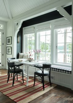 Paint a contrasting color in a breakfast nook or window seat. Vintage Whites Blog: A Rustic, Charming Home with Class