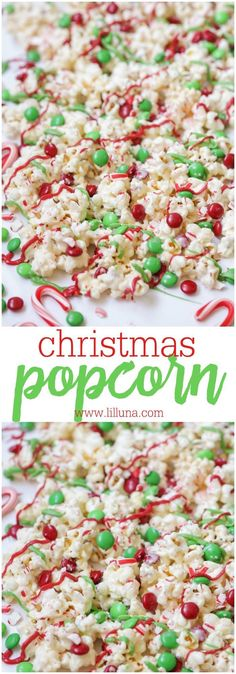 Christmas Popcorn - dipped in white chocolate and drizzled with M&Ms, crushed candy canes and candy melts! The perfect Christmas treat for the family.
