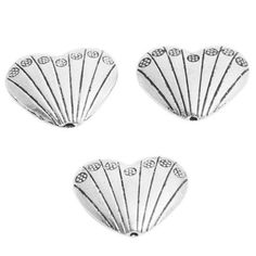 20pcs Vintage Silver Stripe Heart Shape Spacer Alloy Beads Fit Jewelry Making J