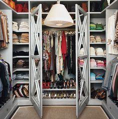 Just because your closet can't accommodate a huge chandelier doesn't mean you have to settle for anything less than spectacular when it comes to lighting. We're big fans of flush mount lights for small closets in particular.  Source: Domino Magazine