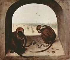피테르 브뢰헬, <두 마리의 원숭이>, 1562. 베를린, 회화 미술관.   - 작품해설 : 화가는 인간의 무지와 어리석음을 원숭이에 빗대어 그렸다고 한다. 즉 주제는 인간의 어리석음이다.  - 원숭이의 상징 : 주로 악, 악마, 우상숭배, 쾌락 등 부정적인 이미지에 연결되어 왔다.  - 나의 감상 : 그림 속의 원숭이 두 마리는 사슬에 묶여 있다. 그들은 사슬을 풀고자 하는 의지도 전혀 없어 보일 뿐만 아니라 이미 자유를 포기한 듯한 모습이다. 그들의 표정은 매우 침울하고 의기소침하다. 이것이 바로 원숭이가 상징하는 인간의 무지가 가져오는 결과가 아닐까? 또, 두 마리의 원숭이를 '쾌락'이나 '악'을 상징하는 관점에서 생각해 본다면, 두 원숭이를 옭아매고 있는 사슬이 '허망함'을 나타내는 것 같다. 삶의 어떤 쾌락(악)을 추구한다고 해도 삶의 진정한 의미나 이유, 목적 등을 알 수는 없다. 쇠사슬은 이로 인해 느껴지는 쾌락의 '허무함', '절망'등을 나타내는 것 같다.