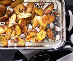Duck-fat roast potatoes with garlic and rosemary Roasted Potato Recipes, Roasted Potatoes, Root Vegetables, Veggies, Christmas Lunch, Vegetable Recipes, Side Dishes, Good Food, Cooking Recipes