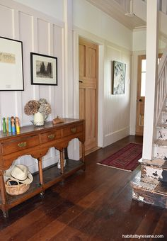 A favourite places in the home is the hallway and staircase, painted in Resene Rice Cake and Resene Quarter Rice Cake.  Picture by Jessica Judge.