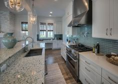 Dream Home - Dream Kitchen - THIS is exactly what I have been looking for! House of Turquoise: David Weekley Homes Beach Cottage Style, Coastal Cottage, Beach House Decor, Coastal Style, Beach Condo, House Of Turquoise, Turquoise Top, Turquoise Glass, Turquoise Kitchen