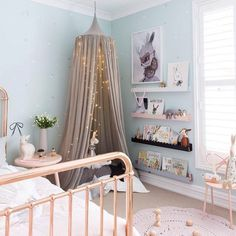 Love the rose gold bed! via Little Co | design by Little Dwellings Book shelf…