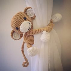 Monkey curtain tie back, nursery, crochet, handmade by niceandcosee on Etsy https://www.etsy.com/listing/266493634/monkey-curtain-tie-back-nursery-crochet