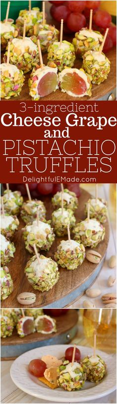 With just three ingredients, these delicious Cheese, Grape and Pistachio Truffles are the perfect appetizer for cocktail hour! Wonderful for a holiday party, intimate gathering or wine with the girls, these easy appetizers are sure to please!