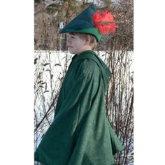 Robin Hood Cape. Made in USA of quality suede cloth and wool-blend felt. Fits wide range of ages from 3 to young adult. From Bella Luna Toys. $43.95