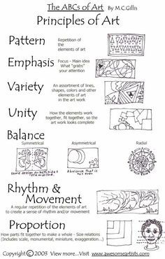 Elements and Principles of art and design. Both B/W and color printables for each of the elements and principles Elements And Principles, Elements Of Art, Principles Of Design Proportion, Elements Of Design Form, High School Art, Middle School Art, Arte Elemental, Art Doodle, Art Handouts