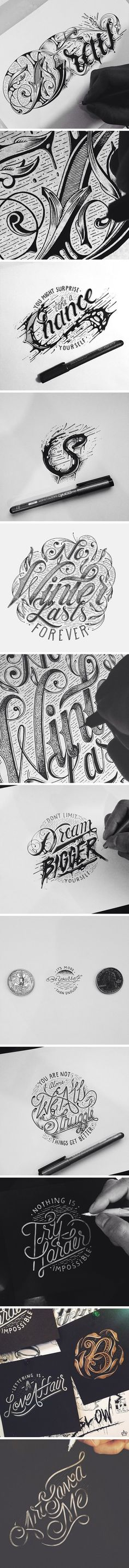 Hand Typography! I am currently trying to learn how to create unique typefaces in Adobe Illustrator. This is very inspiring.