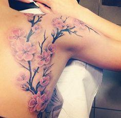 Cherry Blossom Back Tattoo .