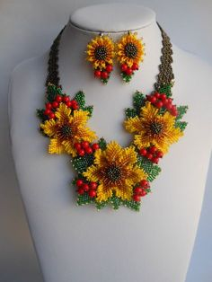 Sunflower viburnum necklace Real necklace flower Nature