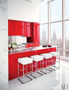 A ravishing #red kitchen  #interior http://oohm.com.au/