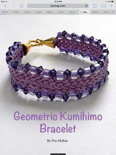 Kumihimo flat beaded braid plaint bracelet
