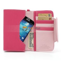 Ardium Smart Pastel Pouch Wallet Case for Samsung Galaxy Note 2 N7100 / N7000 i9220 - Pink / Rose