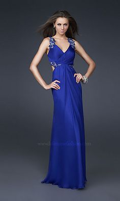 Backless Beaded Blue Straps V Neckline Formal Dresses