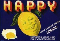 Carpinteria Santa Barbara County Happy Lemon Citrus Fruit Crate Label Advertising Art Print