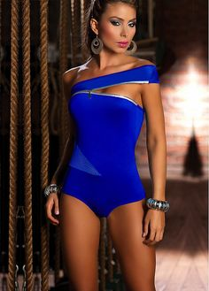 Sexy One Shoulder One-piece Blue Teddy Lingerie Or Bust Open Lingerie Bikini