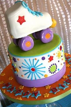 Funky roller skate cake for a roller skating birthday party!