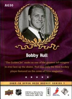 Upper Deck - Ambassadors of the Game Bobby Hull Bobby Hull, Hockey Cards, Trading Card Database, Upper Deck, Trading Cards, Games, Collector Cards, Gaming, Plays
