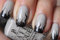 Silver smoke nail art drag needle pin flames steam black grey tips by alba