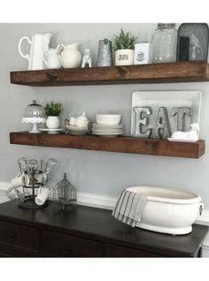 Mensola da cucina in legno massello effetto rustico colore noce antico misura a scelta da 50cm