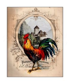 """Rooster Artwork, 8x10 Colorful Print, French Country Decor, Kitchen Art, """"French Chateau Rooster IV"""""""