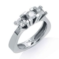 Simply Dazzling! Handcrafted in lustrous 14k white gold, this ring features a simple design that will take your breath away. The ring features 3 large and noticeable round cut diamonds sitting in a prong setting. The color of the diamonds are G/H and the clarity is SI1/SI2. $1,350.00 Diamond Promise Rings, Round Cut Diamond, Simple Designs, Clarity, Diamonds, White Gold, Engagement Rings, Color, Jewelry