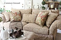 Common Ground: Around the house...Pretty sofa with some warmth in the color.