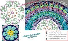Risultati immagini per mandalas tejidos a crochet patrones gratis Crochet Squares, Crochet Mandala Pattern, Crochet Blocks, Crochet Diagram, Crochet Stitches Patterns, Doily Patterns, Crochet Chart, Crochet Doilies, Crochet Cushions