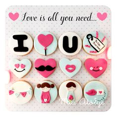 Beautiful Cupcakes, Love Cupcakes, Wedding Cupcakes, Love Cake, Fondant Cupcake Toppers, Fondant Cookies, Cupcake Cookies, Valentines Day Cakes, Valentine Cookies