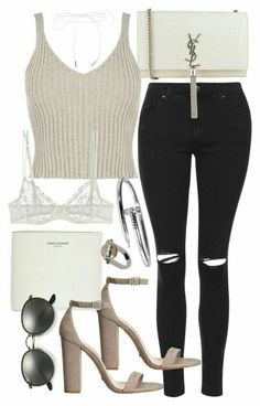 A fashion look from August 2016 featuring grey shirt, skinny jeans and La Perla. Browse and shop related looks. Stylish Outfits, Fall Outfits, Summer Outfits, Cute Outfits, Fashion Outfits, Womens Fashion, Fashion Trends, Preppy Teen Fashion, 70s Fashion