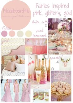 My moodboard on wednesday linky party #4 - Fairies inspired #moodboard - pink, glittery, gold