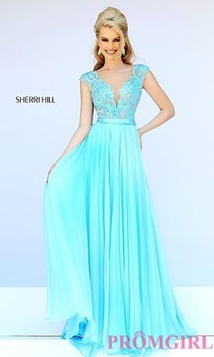 Sleeveless Lace Illusion Bodice Dress by Sherri Hill at PromGirl.com