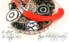 Tanya Lochridge Jewelry Kazuri Bead Black & White Collection Multi-Strand Bracelet stacked with a red lucid bangle from my vintage collection. #tanyalochridgejewelry