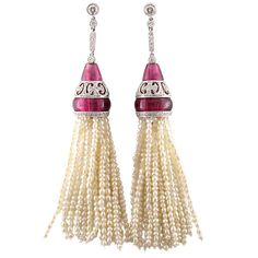 Pink Tourmaline and Pearl Tassel Earrings   From a unique collection of vintage dangle earrings at http://www.1stdibs.com/jewelry/earrings/dangle-earrings/
