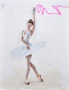 Danseuse Graffeuse - Painting ©2014 przez Costa -  Malarstwo, Olej