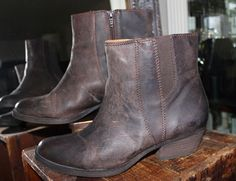 Nine West Vintage America Brown Distressed Leather Ankle Boots Women 8 #NineWest #AnkleBoots