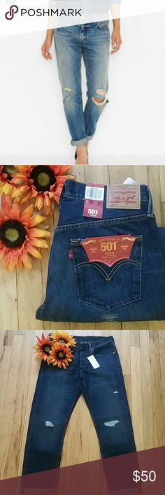 "🌺Nwt levis 501 tapered leg distressed jeans🌺 Super cute. Distressed.  Tapered leg. Button fly. Nwt.  Size 27. Length 28"".   Pls ask questions if you have any. I'm happy to help you. Pet free and smoke free closet. Levi's Jeans"