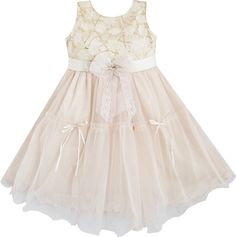 Girls Dress Beige Lace Tulle Pageant Wedding Kids Boutique Size 2 10 NEW | eBay