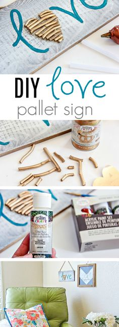 How To Make A Painted Love Sign Perfect For Valentine's Day. This is such a cute DIY Love Sign and a fun Stick Craft. Diy Gifts Valentine's Day, Diy Gifts Love, Diy Love, Valentine's Day Diy, Love Signs, Diy Signs, Craft Stick Crafts, Easy Crafts, Craft Ideas