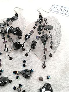 Real leaf earrings with semi precious hematite chips & crystal beads. Silver and black Stones And Crystals, Crystal Beads, Swarovski Crystals, Hematite Jewelry, Leaf Earrings, Inner Peace, Earrings Handmade, 925 Silver, Bugs