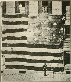 Star spangled banner. The flag that flew over Fort McHenry in 1814, photographed in 1873 in the Boston Navy Yard by George Henry Preble.