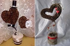 Decorating with Coffee Beans topiaries for wedding | Homemade Valentine's Day gift ideas - 24 creative heart topiary trees