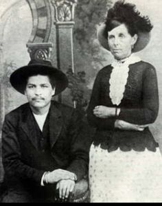 Notorious and vicious Oklahoma outlaw Blue Duck.  Pictured here with Belle Starr whose gang he rode with for a time.